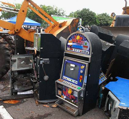 Discarded Slot Machines in the dumpster