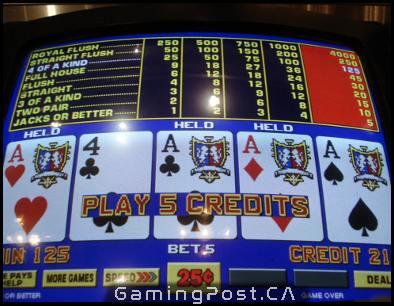 online video poker screenshot