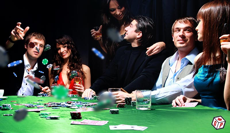 Crowd of people playing poker