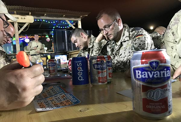 Canadian Armed Forces playing bingo in their leisure time