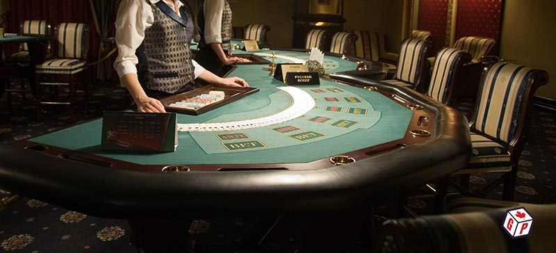 Casino table with dealer