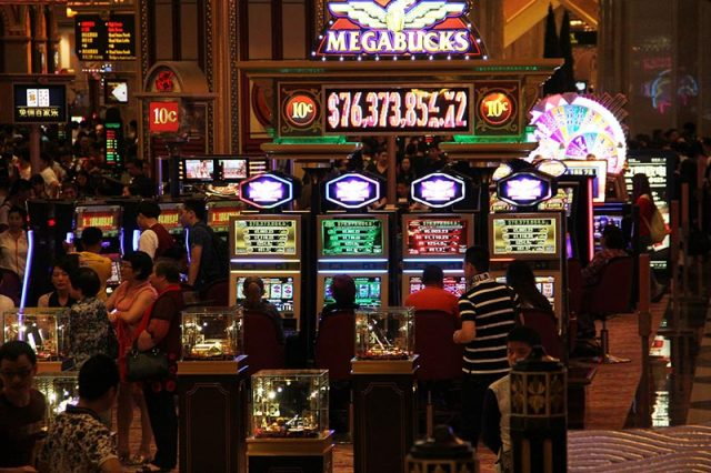 A Macau Casino's floor filled with slot machines