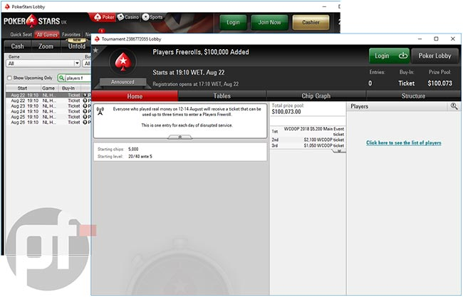 free rolls granted to affected players by PokerStars