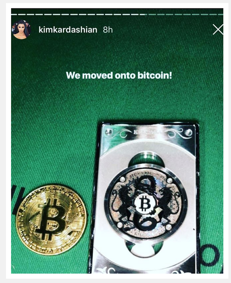 Kim uses Bitcoin and posts it on Instagram