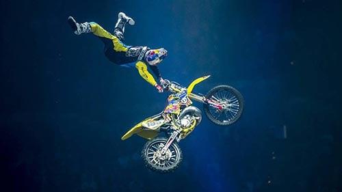 Travis Pastrana performing a daring stunt