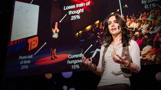 Liv Boeree giving a TED Talk