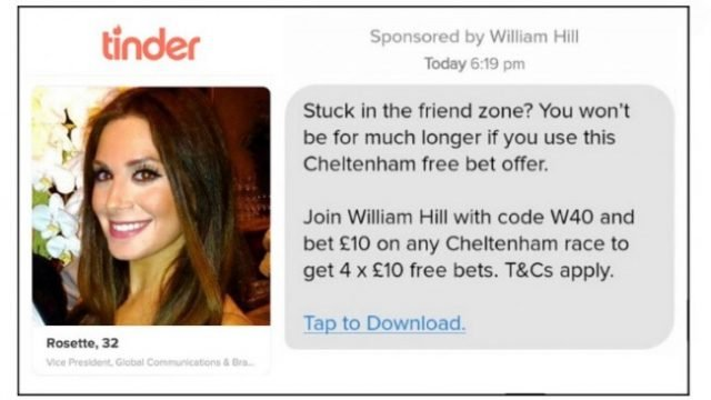William Hill's Tinder Ad Banned By Regulator